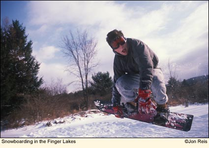 Snowboarding in the Finger Lakes, New York USA. Photo by Jon Reis.