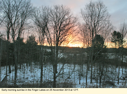 Early morning sunrise in the Finger Lakes on 25 November 2013 at 12 degrees F.
