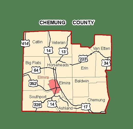 Map of Chemung County, New York