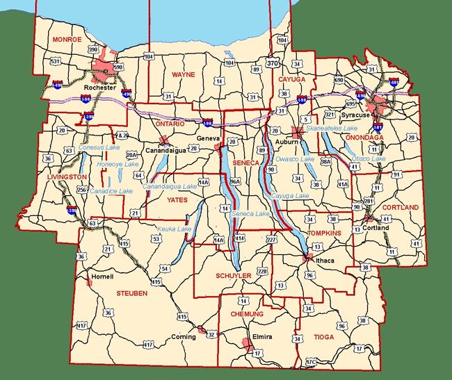Finger Lakes, New York   Regional Map