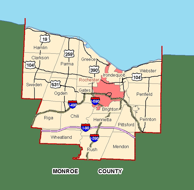 Finger Lakes New York Monroe County Map