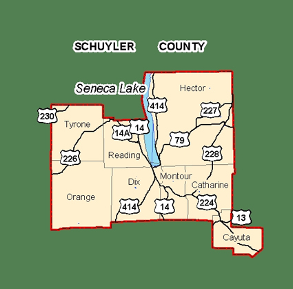 Map of Schuyler County, New York