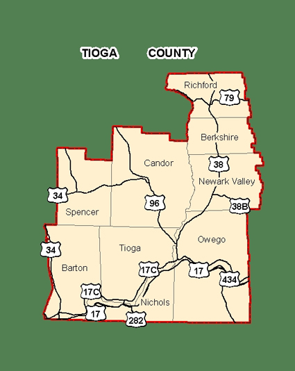 Map of Tioga County, New York