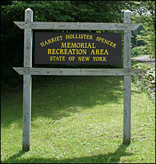 Sign at the entrance to the Harriet Hollister Spencer Memorial Recreation Area in the Finger Lakes, New York.