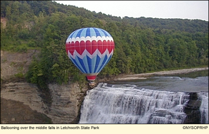 Ballooning over the Middle Falls in Letchworth State Park.