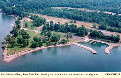 Finger lakes new york state parks cayuga county long point an ariel view of long point state park showing the point and the boat launch sciox Choice Image