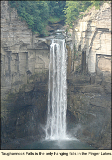 Taughannock Falls is the only hanging falls in the Finger Lakes, New York, USA.
